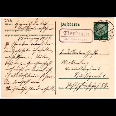 DR 1935, Landpost Stpl. TIERINGEN über Balingen klar auf 6 Pf. Ganzsache.