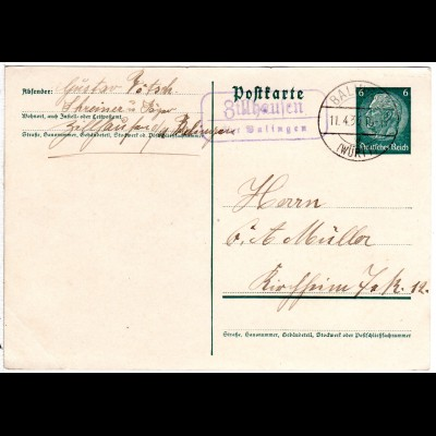 DR 1936, Landpost Stpl. ZILLHAUSEN über Balingen klar auf 6 Pf. Ganzsache.
