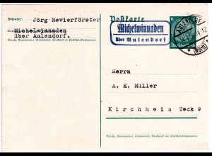 DR 1936, Landpost Stpl. MICHELWINNADEN über Aulendorf klar auf 6 Pf. Ganzsache.