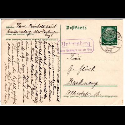 DR 1939, Landpost Stpl. UNTERMBERG über Vaihingen auf 6 Pf. Ganzsache.