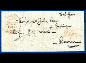 Schweiz 1833, Porto Brief v. Basel n. Bremen. #S149