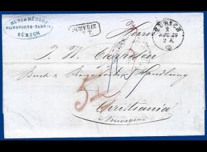 Schweiz 1859, Portobrief v. Zürich n. Norwegen via Taxis u. Hamburg. #S336