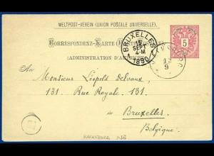 Österreich 1890, K1 KALKSBURG (Nö.) auf 5 Kr. Ganzsache n. Belgien. #S256