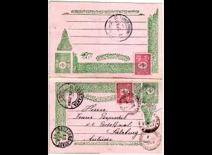 Türkei P21, 10 Pa. Doppelkarte m. Zusatzfr. v. Constantinople n. Österreich.