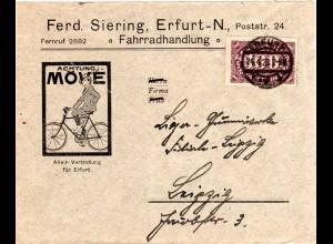 DR 1923, EF 100 Mk. auf Firmen Brief v. Erfurt n. Leipzig m. Abb. Fahrradfahrer