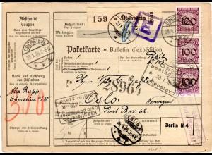 DR 1926, MeF 3x100 Pf. auf Paketkarte v. Oberstein n. Norwegen. Gebühr geprüft.