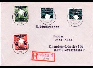 Generalgouvernement 1940, 4 Marken, dabei 50/30 Gr. auf Reko Brief v. Krakau 1