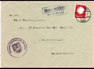 1942, Landpost Stpl. UNTERBRÜDEN über Backnang auf Brief m. 12 Pf. Dienst
