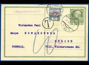 Österreich 1915, Ganzsache v. Wien m. Schweiz Portomarke. #S224