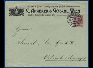 Österreich 1905, gebr Privat Ganzsache Brief v. Wien. Thematik Fotographie #S289
