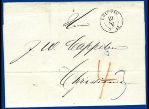 Sachsen 1861, Porto Brief v. Leipzig nach Norwegen. #S330