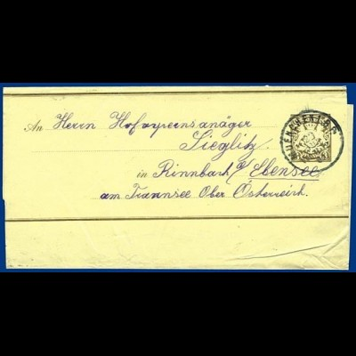 Bayern 1903, Ganzsache Streifband v. München n. Ebensee Ober- Österreich. #S303