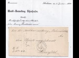 Bayern 1887, Brief m. 3 rücks. Stempeln v. Ichenhausen n. Scheinfeld. #2617