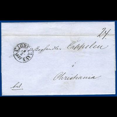 Dänemark 1857, Francobrief nach Norwegen. #S362
