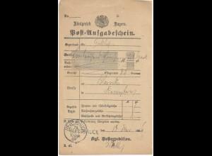Bayern 1886, L1 u. K1 HERSBRUCK zusammen auf Postschein. #2069