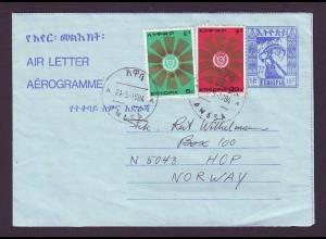 Äthiopien Ethiopia, Awasa Aerogramm Ganzsache m. Zusatzfrank. n. Norwegen.