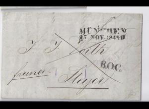 Bayern Österreich 1843, B.O.C. auf Franco Brief m. L2 München. #1330