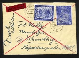 1948, 50+60 (+40) Pf. Leipziger Messe auf Eilboten Brief v. Augsburg. #1195
