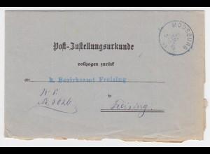Bayern 1905, K1 MOOSBURG auf Zustellungsurkunde n. Freising. #2060