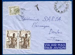 Afrique Equatorial Francaise 1955, Luftpost Brief m. Frankreich 20f Porto. #1024