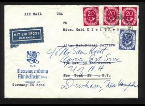 BRD USA, Kreisjugendring Mindelheim, Luftpost Brief m. 4 Posthorn Marken. #1315