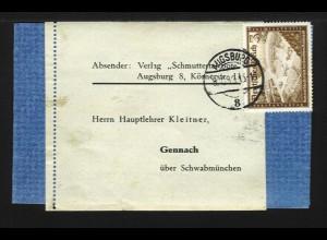 DR 1939, EF3+2 Pf Kameradschaftsblock auf Drucksachenschleife v. Augsburg. #1201
