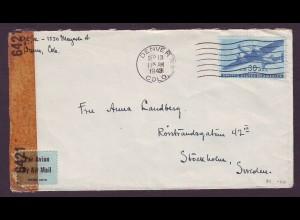 USA 1943, WW II Luftpost Zensur Brief v. Denver ins neutrale Schweden. #995