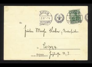 DR 1913, Leipzig XI Dt. Turnfest, Maschinen Sonderstpl. auf Karte m. 5 Pf. #1208
