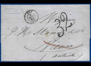 """Frankreich Österreich 1862, Porto Stpl. """"32"""" (Kreuzer) auf Brief v. Nice. #1020"""