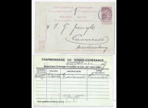Belgien Kohle Bergbau1907, Charbonnage de...-Zudruck auf 10 C. Ganzsache. #976