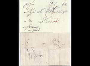 Schweden GB 1842, Göteborg u. div. Stpl. rücks. auf Teilfranko Brief. #1070