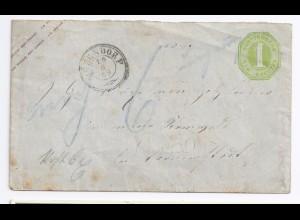 """Württemberg 1869, Oberndorf, """"ungenügend"""" frank. Ganzsache Brief m. Porto. #1092"""