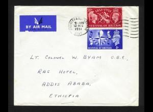 GB Ethiopia 1951, 2 1/2+4d auf Luftpost Brief m Militäradresse v. Bromley #1194