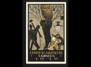 Lauingen 1919, Lehrer Absolvia, ungebr. Farb AK. #1310