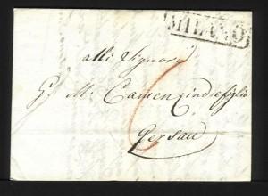 Lombardei Venetien Schweiz 1827, R1 MILANO auf Portobrief n. Gersau. #1209