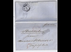 NL Schweden 1863, Amsterdam in rot u. L1 FRANCO auf Brief n. Stockholm. #1319