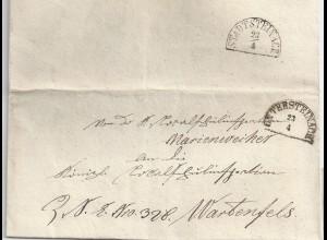 Bayern 1858, HKS Untersteinach auf Brief v. Marienweiher n. Wartenfels. #2070