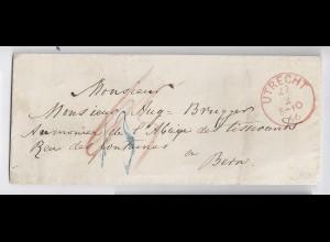 NL Schweiz 1866, Utrecht in rot auf Franco Brief nach Bern. #1321