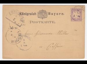 Bayern 1880, HKS ESSINGEN auf Ganzsache n. Edesheim m. K1 Rohrbach. #220