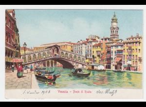 Italien, Venedig Venezia, Ponte di Rialto, ungebr. Farb AK. #997