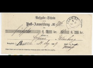 Bayern 1869, L1 u. HKS PASSAU auf Postschein f. Postanweisung. #1564