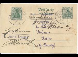 DR 1913, Schiffspost Stpl DSP Bremen La Plata a auf Ga geschr. v. Lissabon #2354