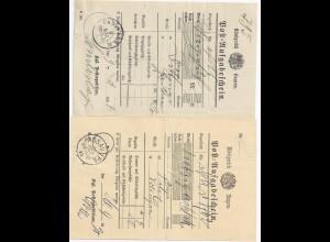Bayern 1890/97, PASSAU I P.A. und 1.A.W. auf 2 verschiedenen Postscheinen. #2068