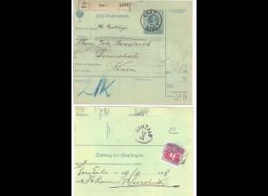Österreich 1908, Domzale, 2 versch. Stpl. rücks. a. Paketadresse v. Graz. #84