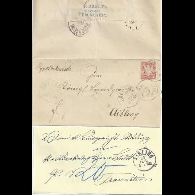 Bayern, 2x verwendet Brief Traunstein Aibling, 10 Pf Weite Welle u Porto. #2077