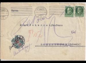 Bayern1918, 2x7 1/2 Pf. auf Brief v. Würzburg m Schweiz 15 C. Portomarke. #1410