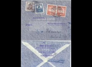 """DR 1937, 3 """"Nicht ermittelt.."""" Stpl. v. Berlin auf Luftpost Brief v. Chile #2852"""