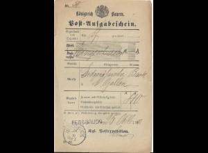 Bayern 1882, Hersbruck, L1 u. K1 zus. auf Postschein f. Einschreiben. #2842