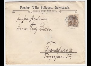 DR 1909, Reklame Werbung Brief Gernsbach Pension Bellevue m 3 Pf Germania. #1700