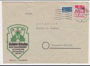 1949, Flensburg Reklame Werbung Brief DKW m. 20 Pf.+ Notopfer. Thema Auto. #1874